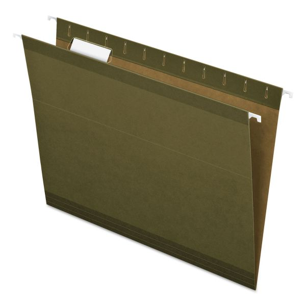 Pendaflex Hanging File Folders, 1/5 Tab, Letter, Standard Green, 25/Box