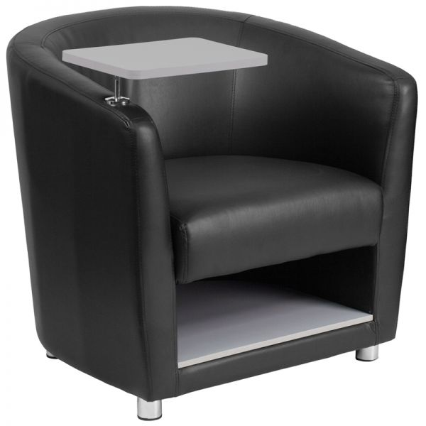 Flash Furniture Black Leather Guest Chair with Tablet Arm