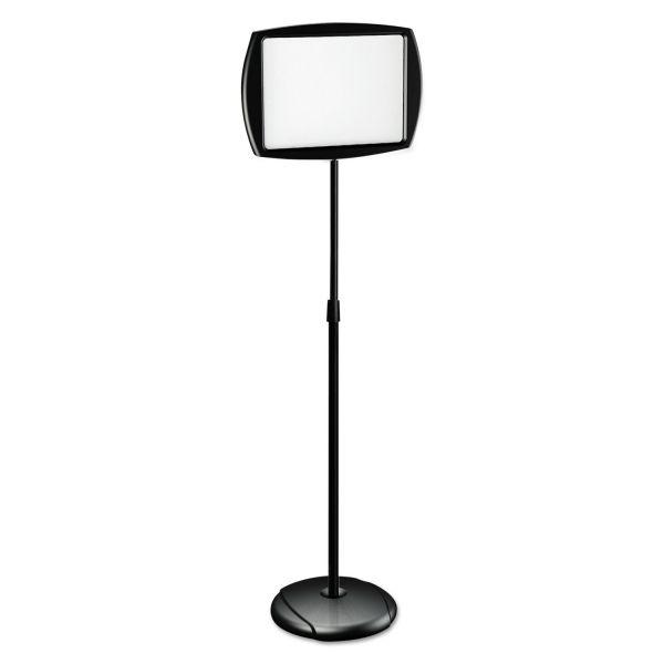 "MasterVision Floor Stand Sign Holder, Rectangle, 15x11 sign, 66""H, Black Frame"