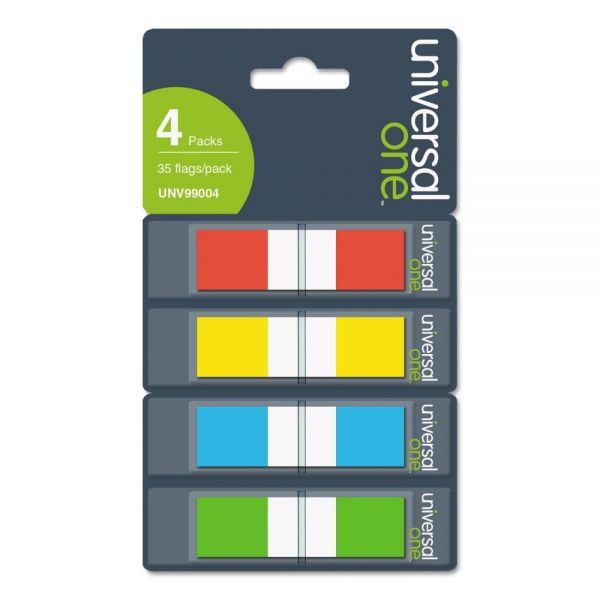 Universal Page Flags, Assorted Colors, 35-Flags per Dispenser, 4 Dispensers per Pack