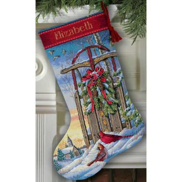 Dimensions Gold Collection Christmas Sled Stocking Counted Cross Stitch Kit