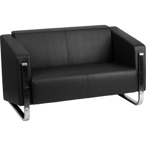 Flash Furniture HERCULES Gallant Series Contemporary Black Leather Loveseat with Stainless Steel Frame