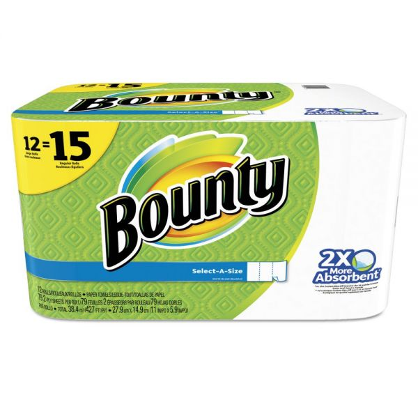 Bounty Select-a-Size Perforated Paper Towels, 2-Ply, White, 6 x 11, 79/Roll, 12Rl/Pk