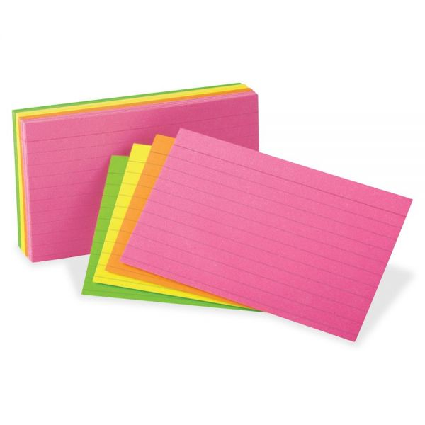 "Oxford 3"" x 5"" Ruled Neon Glow Index Cards"