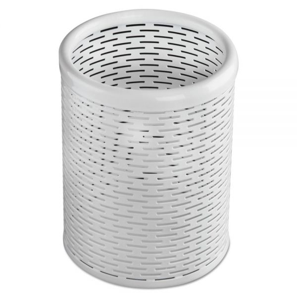 Artistic Urban Collection Punched Metal Pencil Cup, 3 1/2 x 4 1/2, White