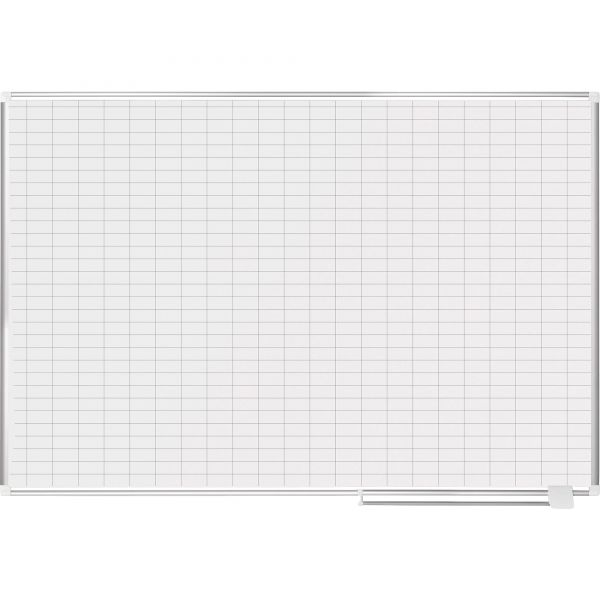 "MasterVision Grid Planning Board w/ Accessories, 1x2"" Grid, 72x48, White/Silver"