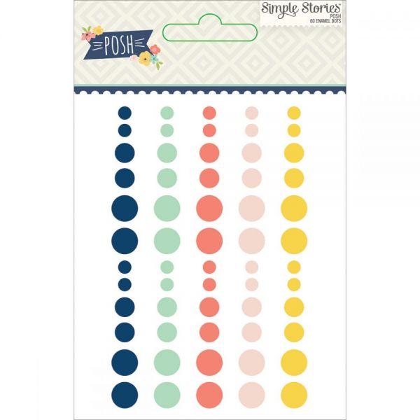 Posh Enamel Dots Embellishments 60/Pkg