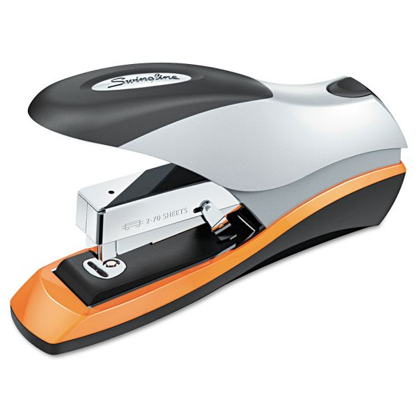 Swingline Optima Desktop Staplers, Half Strip, 70-Sheet Capacity, Silver/Black/Orange