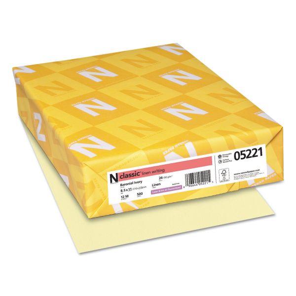 Neenah Paper CLASSIC Linen Writing Paper, 24lb, 8 1/2 x 11, Baronial Ivory, 500 Sheets