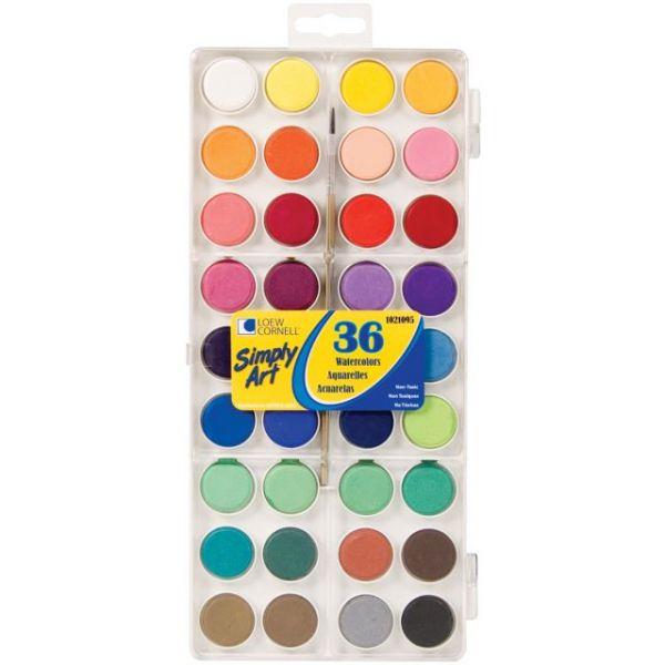 Simply Art Watercolor Paint Cakes 36/Pkg
