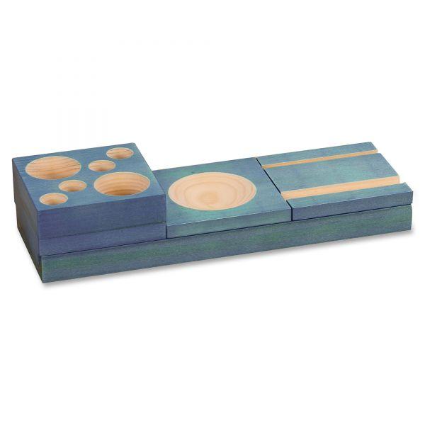 Safco Blue Splash Wood Desk Set