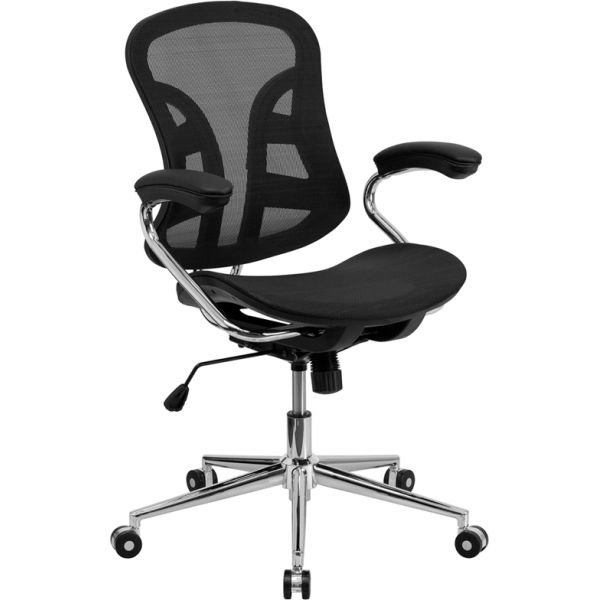Flash Furniture Mid-Back Mesh Swivel Task Chair with Padded Arms