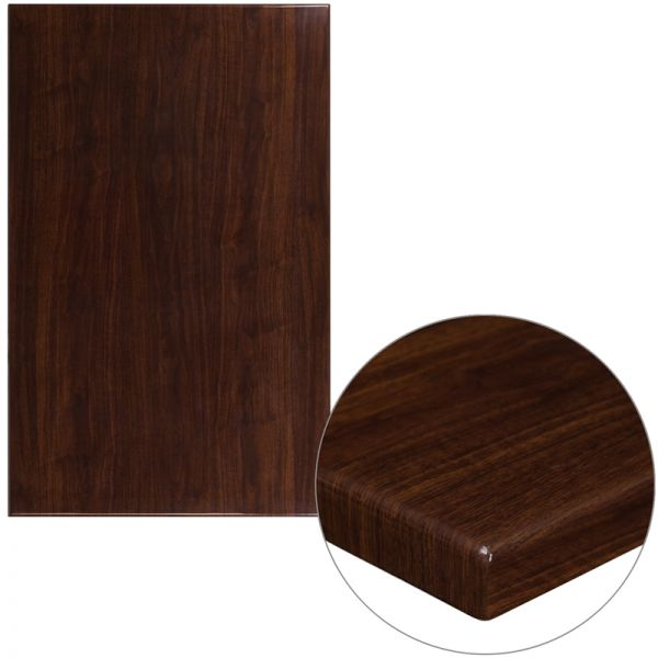 Flash Furniture 30'' x 48'' High-Gloss Walnut Resin Table Top with 2'' Thick Drop-Lip