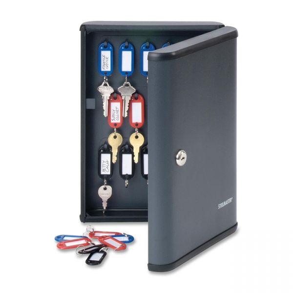 STEELMASTER by MMF Industries Locking 30-Key Cabinet, 8 1/2w x 2 3/8d x 11 5/8h, Charcoal Gray