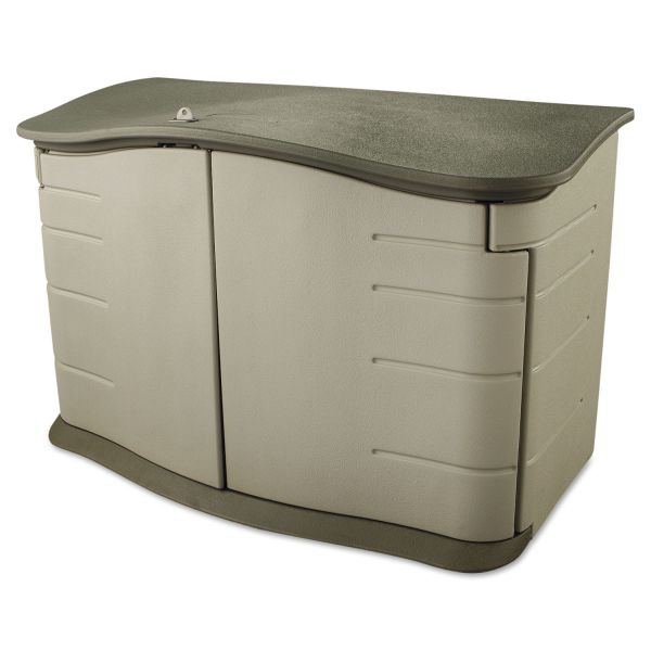 Rubbermaid Horizontal Outdoor Storage Shed, 55 x 28 x 36, 20 cu. ft., Olive Green/Sandstone