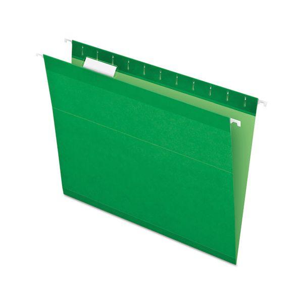Pendaflex Reinforced Hanging Folders, 1/5 Tab, Letter, Bright Green, 25/Box