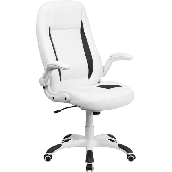 Flash Furniture High Back Leather Executive Office Chair with Flip-Up Arms