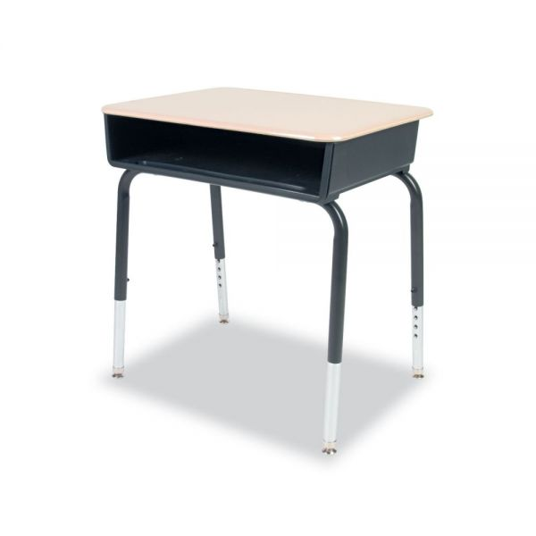 Open Front Student Desks, Martest 21 Hard Plastic Top, Sandstone, 2/Carton