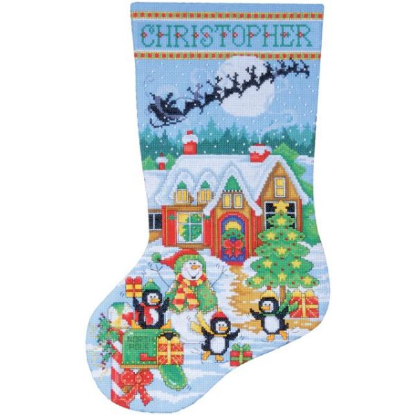 Penguin Party Stocking Counted Cross Stitch Kit