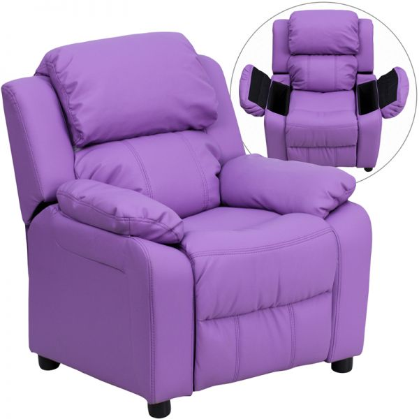 Flash Furniture Deluxe Padded Contemporary Lavender Vinyl Kids Recliner with Storage Arms