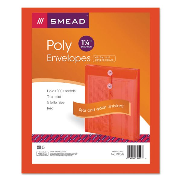 Smead Poly String & Button Envelope, 9 3/4 x 11 5/8 x 1 1/4, Red, 5/Pack