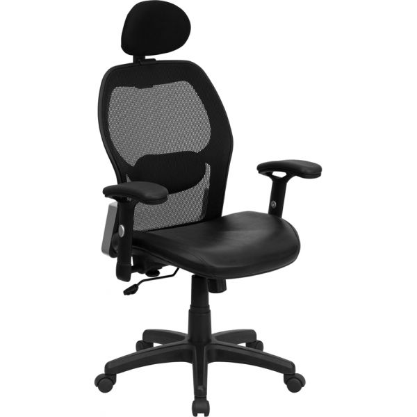 Flash Furniture High Back Super Mesh Office Chair with Leather Padded Seat