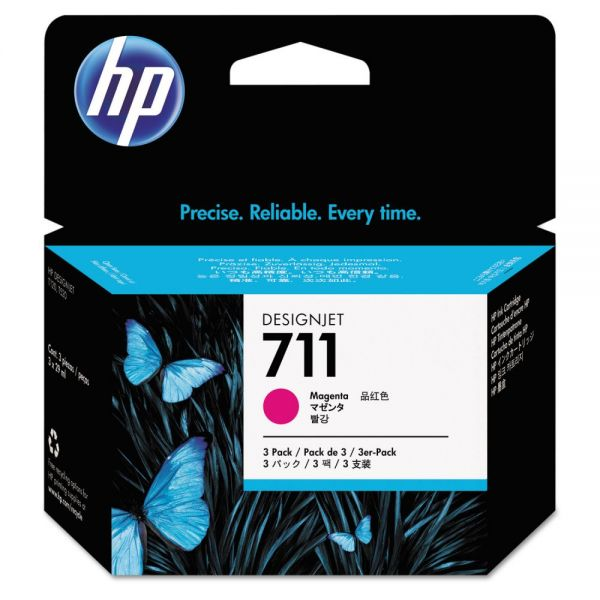 HP HP 711, (CZ135A) 3-pack Magenta Original Ink Cartridges