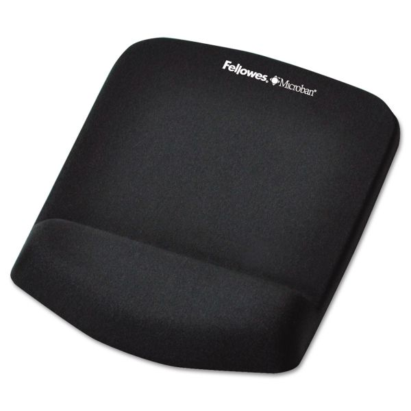 Fellowes PlushTouch Mouse Pad with Wrist Rest, Foam, Black, 7 1/4 x 9-3/8