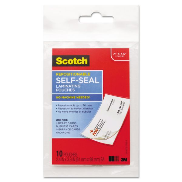 Scotch Self-Seal Business Card Laminating Pouches