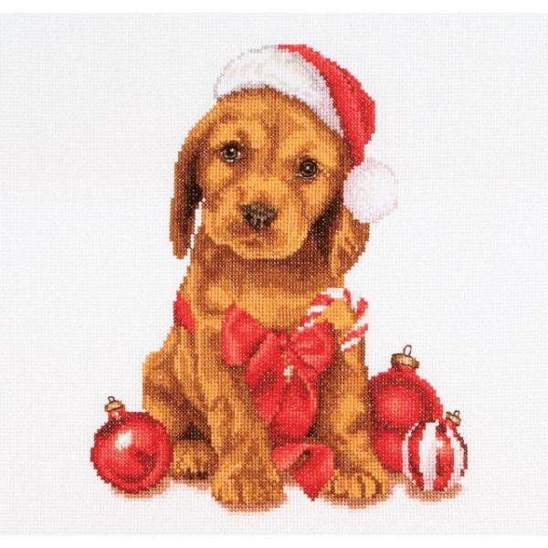 Christmas Puppy On Aida Counted Cross Stitch Kit