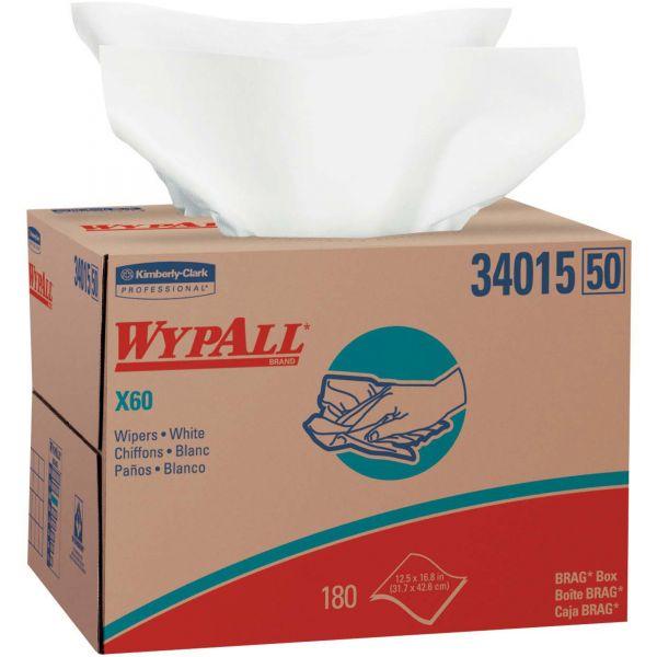 WypAll* X60 Cloths, BRAG Box, White, 12 1/2 x 16 7/8, 180/Box
