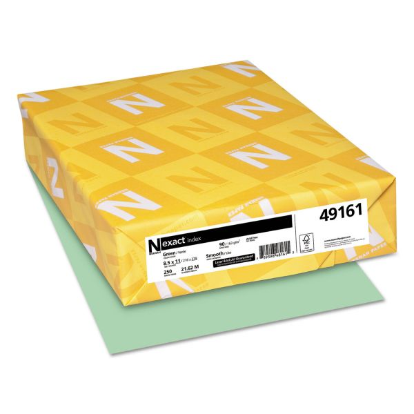 Neenah Paper Exact Index Card Stock, 90lb, 8 1/2 x 11, Green, 250 Sheets