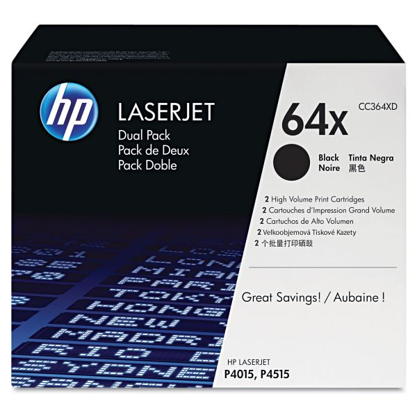 HP 64X Black High Yield Toner Cartridges (CC364XD)