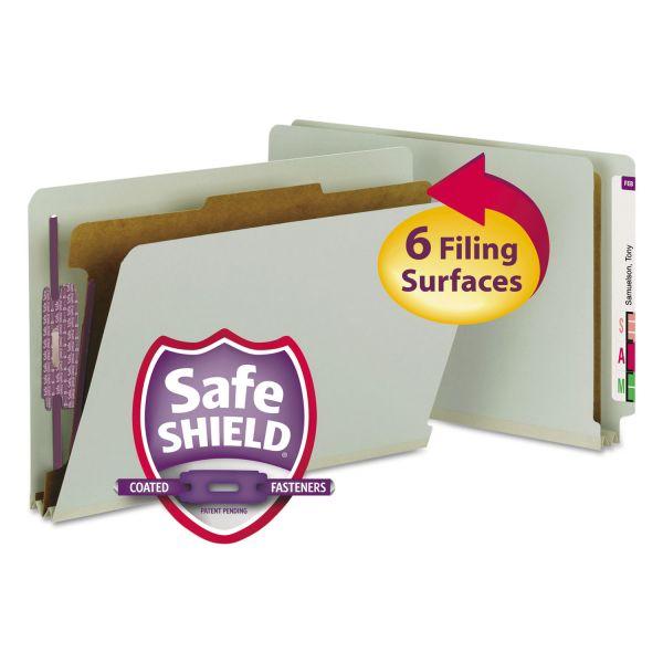 Smead Pressboard End Tab Classification Folder, Legal, 4-Section, Gray/Green, 10/Box