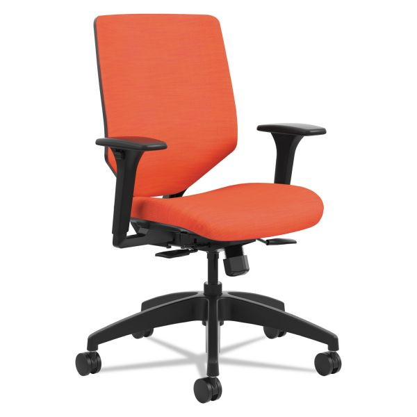 HON Solve Series Mid-Back Task Chair with Upholstered ReActiv Back