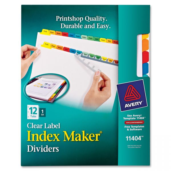 Avery Index Maker Print & Apply Clear Label Dividers, 12-Tab, Multi-color Tab, Letter, 1 Set