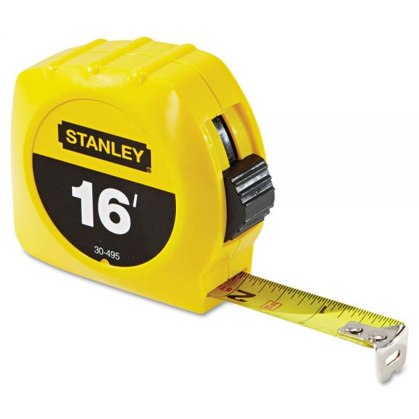 "Stanley Tools Tape Rule, 3/4"" x 7ft, Plastic Case, Yellow, 1/16"" Graduation"
