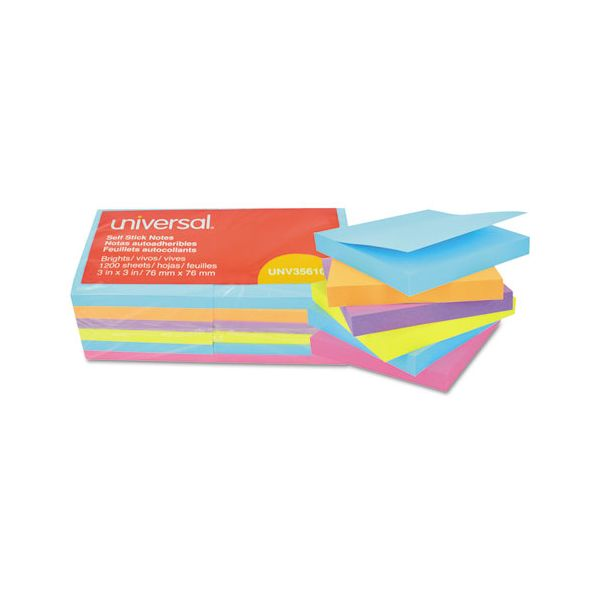 Universal Self-Stick Note Pads, 3 x 3, Assorted Bright Colors, 100-Sheet, 12/PK