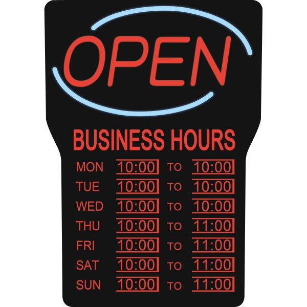 Royal Sovereign LED Open with Business Hours Sign English