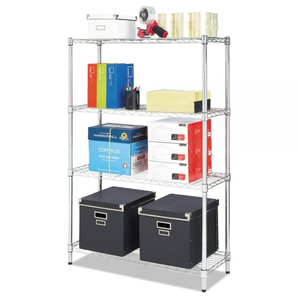 Alera Residential Wire Shelving, Four-Shelf, 36w x 14d x 54h, Silver