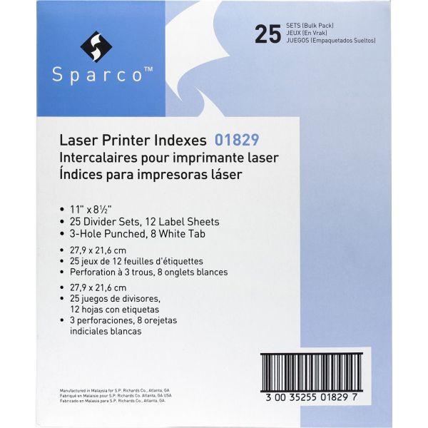 Sparco Laser Printer Index 8-Tab Dividers