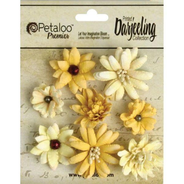 """Darjeeling Teastained Mini Mix Flowers .75"""" To 1.5"""" 8/Pkg"""