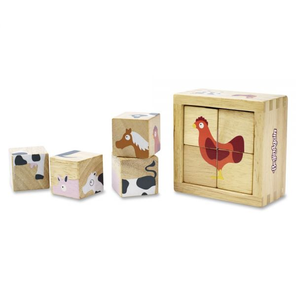 BeginAgain Toys Toddlers Farm Animals Blocks Set