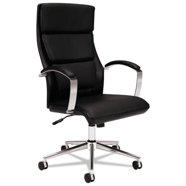 HON VL105 Series Executive High-Back Chair, Black Leather