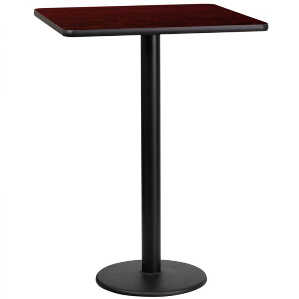 Flash Furniture 24'' Square Mahogany Laminate Table Top with 18'' Round Bar Height Table Base