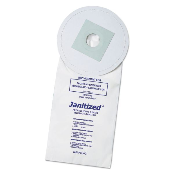 Janitized Vacuum Filter Bags Designed to Fit ProTeam, Line Vacer, Rubbermaid,10/PK,10PK/CT