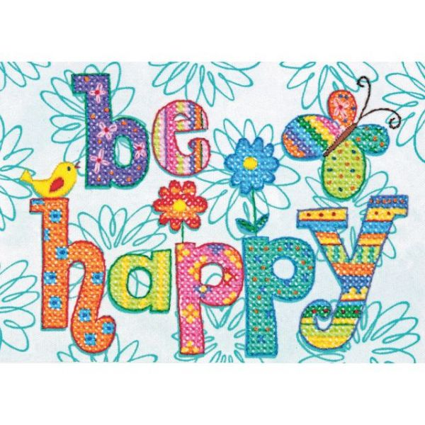 Dimensions Be Happy Mini Stamped Cross Stitch Kit