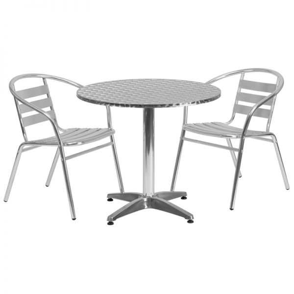 Flash Furniture 31.5'' Round Aluminum Indoor-Outdoor Table with 2 Slat Back Chairs