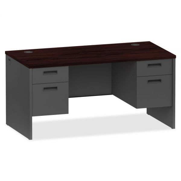 Lorell Mahogany/Charcoal Pedestal Desk