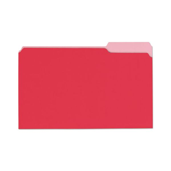 Universal File Folders, 1/3 Cut One-Ply Top Tab, Legal, Red/Light Red, 100/Box